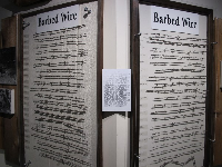 Exhibit about different types of barbed wire.