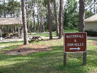 "The sign ""Waterfall and Sinkholes."""
