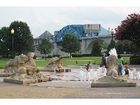 Splash pad, and blue bridge behind.