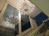 Chandelier over the staircase.