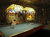 Billiards room, with gathered fabric ceiling.