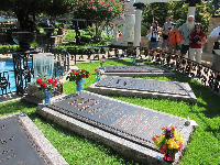 Someone tried to steal Elvis' body so they had to move his grave to the property.