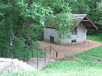 Limestone springhouse, built in 1821.