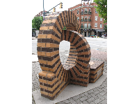 Stripey brick sculpture on Market St near the river. Fun for kids to climb inside!