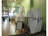 The crafts area where you can make a surfboard, downstairs in University Union.