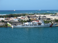 U.S. Coast Guard ship docked at Sand Island.