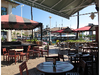 Outdoor seating at Gordon Biersch Restaurant.
