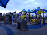 Rock-climbing area of the playground, at night.