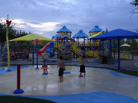 The splash pad in the evening.