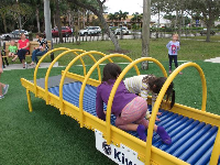 Unusual play equipment: a roller tunnel.