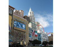 The buildings along the sidewalk as you walk along The Strip to New York New York!