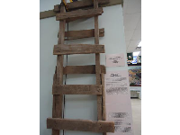 Wooden ladder that led into an underground tunnel.