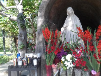 Grotto of Mary in the mission garden.