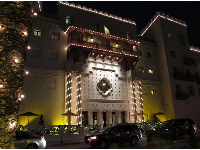 Casa Monica hotel lit up for Christmas.