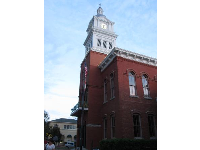 Clock tower on the courthouse which was built in the late 19th century in Italianate style.