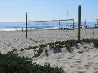 Volleyball court in the sand.