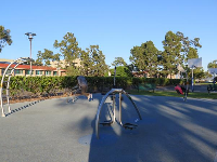 Exercise stations near the freshman cafeteria and the Campus Point parking lot.