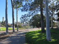 As you reach campus and the lagoon, from Isla Vista, a very short walk.