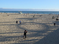 View of the beach from the pier.
