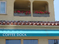 Coffee Dock and flower baskets above.