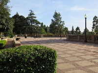 The checkered plaza by Shapiro fountain and Dickson Court.