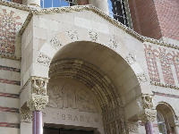 The doorway to Powell Library.