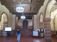 Inside the lobby of Powell Library.