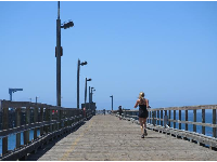 Running on the pier.