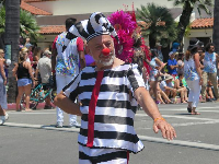 Clown in the Summer Solstice Parade 2017.