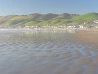 Pismo Pier as seen from the beach by the North Beach campground and butterfly preserve.