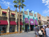 The colorful store facades.