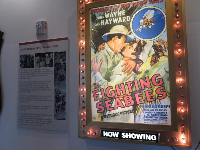 Fighting Seabees recruitment movie featuring John Wayne. The movie was shown in towns before the arrival of the recruitment truck.