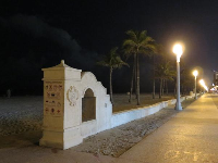 The Hollywood Beach boardwalk at night.