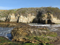 Cliffs and caves.