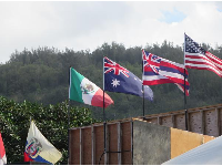 Flags at the Pipeline Masters surf contest.