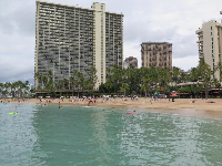 View of Hilton Hawaiian Village towers from the water.