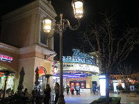 Movies theater and lamppost.