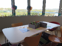 Children's room, which has an amazing view across the river.