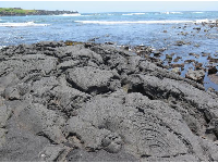 Lava rock and ocean.