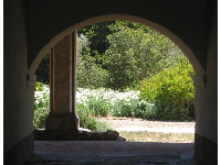 Gardens, through an archway.