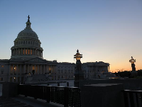 Sunset behind the Capitol.