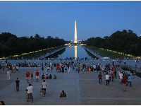 People gather by the Reflection Pool.