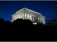 Side view of Lincoln Memorial at night.