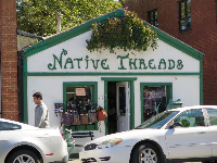 Native Threads is a clothing store in a cute house.