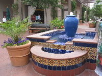 Fountains galore at La Cumbre Mall! These days they have plants rather than water because of the drought.