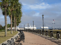 Bridge and pier, as seen from Waterfront Park.