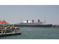 View of the Queen Mary from Rainbow Harbor.