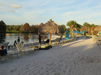 Sandy beach by the alligator lake.