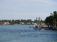 View across the bay to buildings at 46th Street Beach.