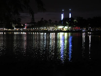 View of the lake from the lakeside path at night.